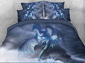 Beddinginn Flying Dragon Bedding Queen 3D Mythical Dragon Print 4 Piece Bed Set with 2 Pillow Shams Cool Duvet Cover Set for Child Gift No Comforter(Blue Dragon,Queen)