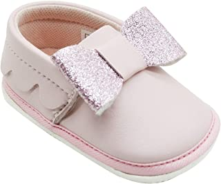 KazarMax White Light Pink Bow Baby Booties (Made in India)