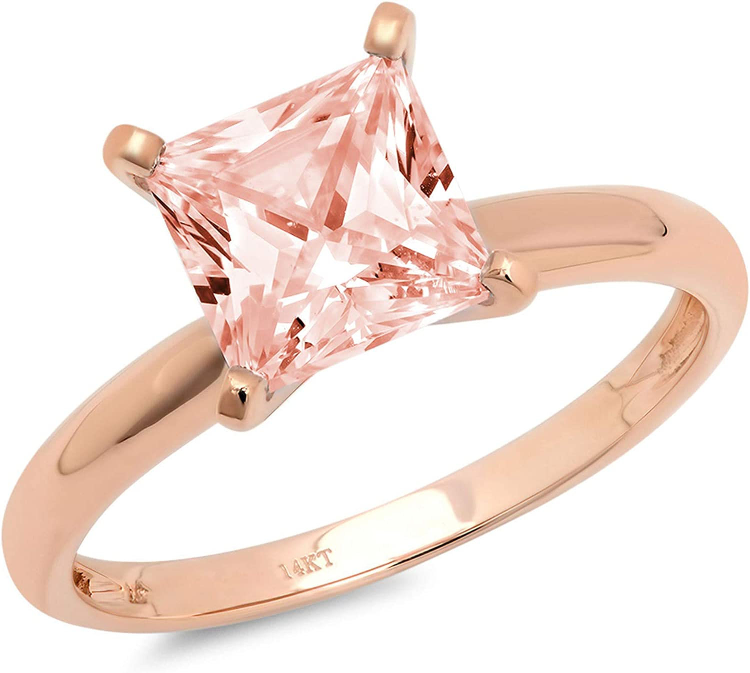 2.95ct Brilliant Princess Cut Solitaire Pink Simulated Diamond CZ Ideal VVS1 D 4-Prong Classic Designer Statement Ring Solid Real 14k Rose Gold for Women