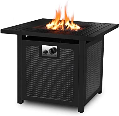 "femor 30"" Propane Gas Fire Pit, 50,000 BTU Auto-Ignition Fire Bowl with Waterproof Firepit Table Cover & Lava Rock, CSA Certi"