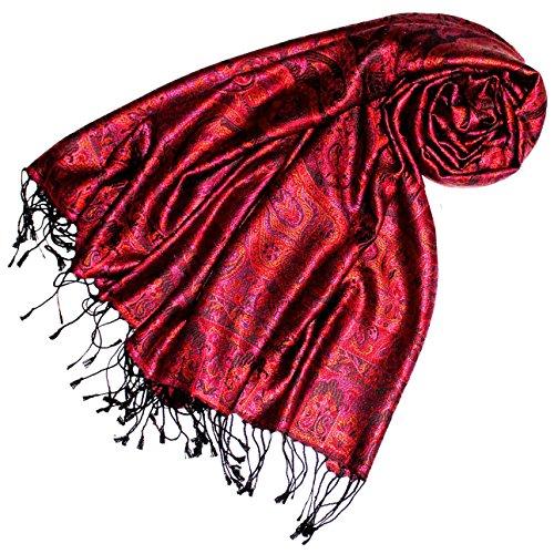 Lorenzo Cana Luxus Pashmina Damen Schal Schaltuch jacquard gewebt 100% Seide 70 x 190 cm Paisley Muster Seidenschal Seidentuch Seidenpashmina harmonische Farben