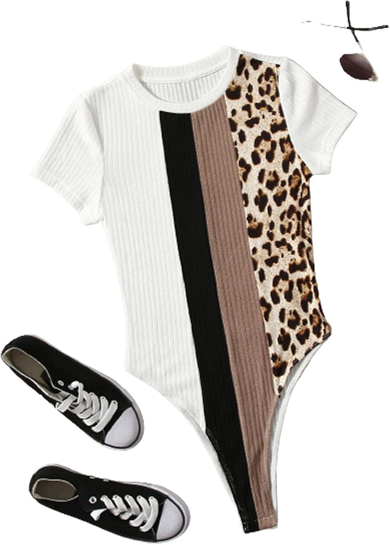 Romwe Women's Ribbed Color Block Short Sleeve T Shirt Bodysuit Tops