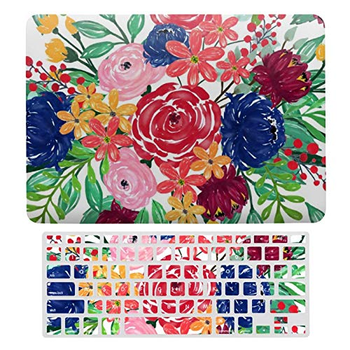 For MacBook Air 13 Case A1466、A1369, Plastic Hard Shell & Keyboard Cover Compatible with MacBook Air 13, Navy Blue And Red Watercolor Boho Chic Flowers-37 Laptop Protective Shell Set