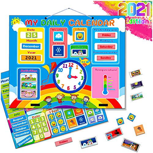 TONULAX Kids Calendar - Newest Version Magnetic Learning Calendar for Toddlers with Full Magnet On Back, Weather & Emotion Chart, Preschool Learning Toy, Gift for Boys and Girls, Hang On Wall & Fridge