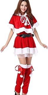 【Alloy-Adorn】クリスマス サンタ コスプレ 大きいサイズ有 サンタコス コスチューム レディース トップスのネコ耳フード付きケープ 5点セット(S-L)XL/XXL/XXXL (L)