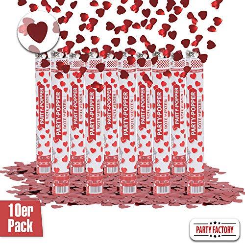 Party Factory 10er Set Party Popper, 40 cm, Rote Herzen Konfetti, bis 8 m Effekthöhe, Konfettiregen für Hochzeit, Valentinstag oder Jahrestag