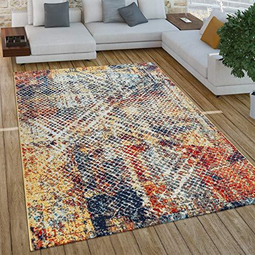 Paco Home Wohnzimmer Teppich Im Vintage Used Look, Industrial Style Kurzflor in Rostfarben, Grösse:160x220 cm, Farbe:Mehrfarbig 3
