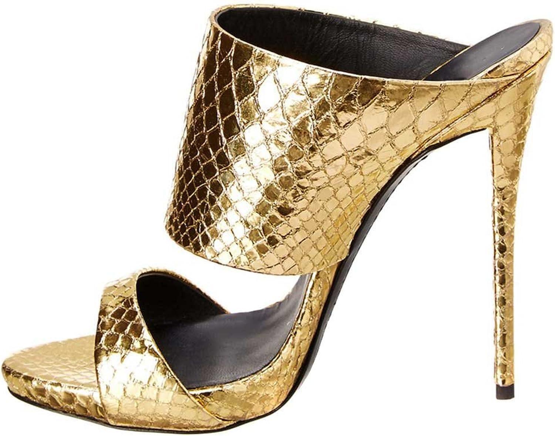 A -BUYBEA Kvinnors himmelska klackade Open -Toe läder Slinders Sandal Sandal Sandal skor Storlek 5 -9  onlinebutik