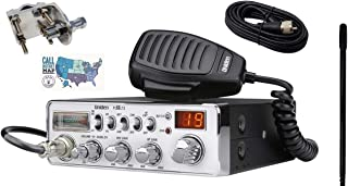 Uniden PC68LTX Radio and Accessory Bundle - 5 Items - Includes Uniden PC68LTX 40 Channel CB Radio with Shark Antennas 2ft CB Antenna, Mirror Mount, 12' Coax and Ham Guides TM Quick Reference Card