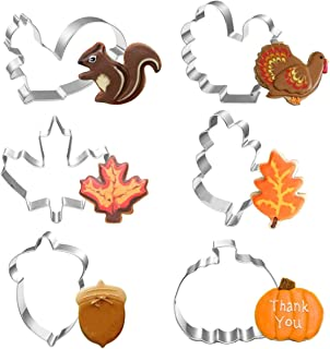 Fall Thanksgiving Leaves Cookie Cutter Set 6 PCS for Autumn Thanksgiving Christmas Wedding Party Biscuit Fondant Cutters S...