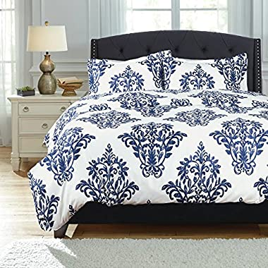 Bedsure Printed Damask Pattern Duvet Cover Set with Zipper Closure Victoria Blue Modern Full/Queen (90 x90 )-3 Pieces (1 Duvet Cover + 2 Pillow Shams) Ultra Soft Hypoallergenic Microfiber