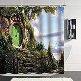 Hobbit Rideau De Douche Seigneur des Anneaux Rideau De Douche Magique Crochets Fantaisie Rural Vert Salon Cabine Tissu Salle De Bain Rideau Chambre Enfants Décor-M/180X180Cm