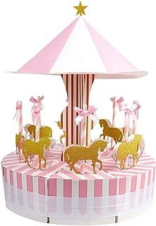 Aytai Boda Cajas de Favor Merry-Go-Round Estilo Cajas de Regalo de Caramelo con Unicornios de oro para Fiesta en Carrusel Cumpleaños Baby Shower Décor (Rosa)