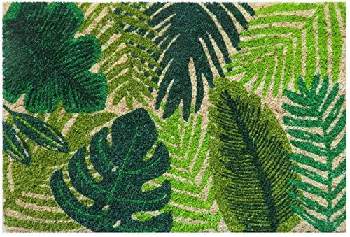 Entryways Tropische Blätter rutschfeste Coir Fußmatte, Kokosfaser, grün, 40 cm x 60 cm x 15 mm