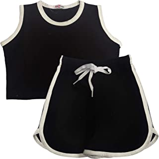 Kids Girls Shorts 100% Cotton Contrast Taped Summer White Top & Hot Shorts Sets