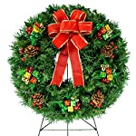Silk Flower Arrangements Sympathy Silks Christmas Memorial-Wreath Decoration - Holiday Colored Ornaments with Hand-Tied Red Burlap Bow on 30 Inch Easel - Artificial Greenery Wreath - Fade Resistant