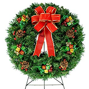 Sympathy Silks Christmas Memorial-Wreath Decoration – Holiday Colored Ornaments with Hand-Tied Red Burlap Bow on 30 Inch Easel – Artificial Greenery Wreath – Fade Resistant