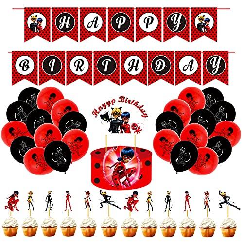 Hilloly 34 Pcs Mariquita Decoraciones de Fiesta,Kit de Decoraciones de Cumpleaños,Decoración Fiesta Para Cumpleaños Infantil,Contiene Decoraciones Para Tortas,Pancartas,Globos de látex