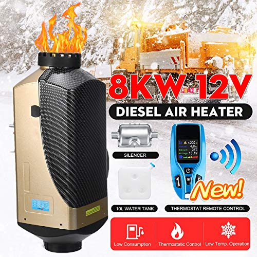 Read About KINGSO 8KW Car Air Diesels Heater Parking with Silencer Blue New Remote Control 10L Fuel ...