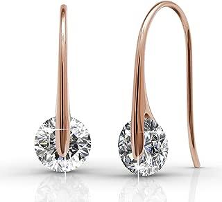 McKayla 18k White Gold Plated Dangling Earrings with Swarovski Crystal, Classic Drop Dangle-Earrings, Best Silver Earrings for Women, Small Solitaire Hook Drop Earrings with Swarovski