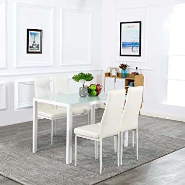 Bonnlo 5 Pieces Dining Set Dining Table and Chairs Set for 4 Persons,Kitchen Room Glass Table with 4 Chairs,White