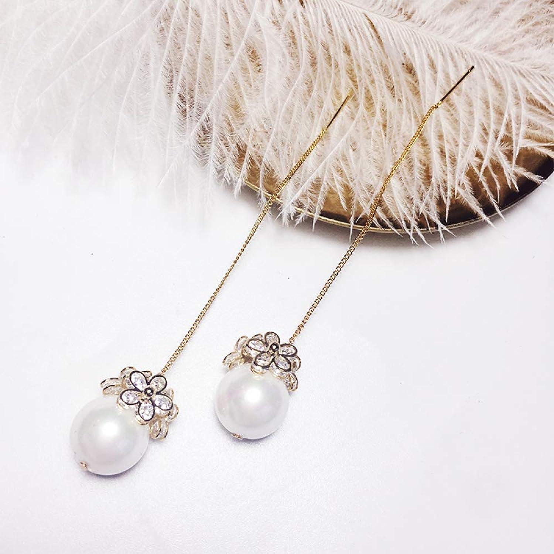 Super Fairy Earrings Korean Temperament Long Pendant Wild Fringed Ear line Women Imitation Pearl Earrings Individual Ear Chain Earrings,golden,One Size SLR