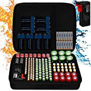 Fireproof Battery Organizer Storage Case Waterproof & Explosionproof, Safe Bag Fits 210+ Batteries Case - with Tester BT-168, Carrying Container Bag Energy Batteries AA AAA C D 9V Iithium 3V Holder
