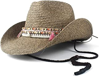 2019 Women Womens 12 Style Straw Hollow Western Cowboy Hat for Women Summer Lady Gentleman Beach Sombrero Hombre Panama Cowgirl Jazz Sun Cap Casual Fashion (Color : 10, Size : 56-58)