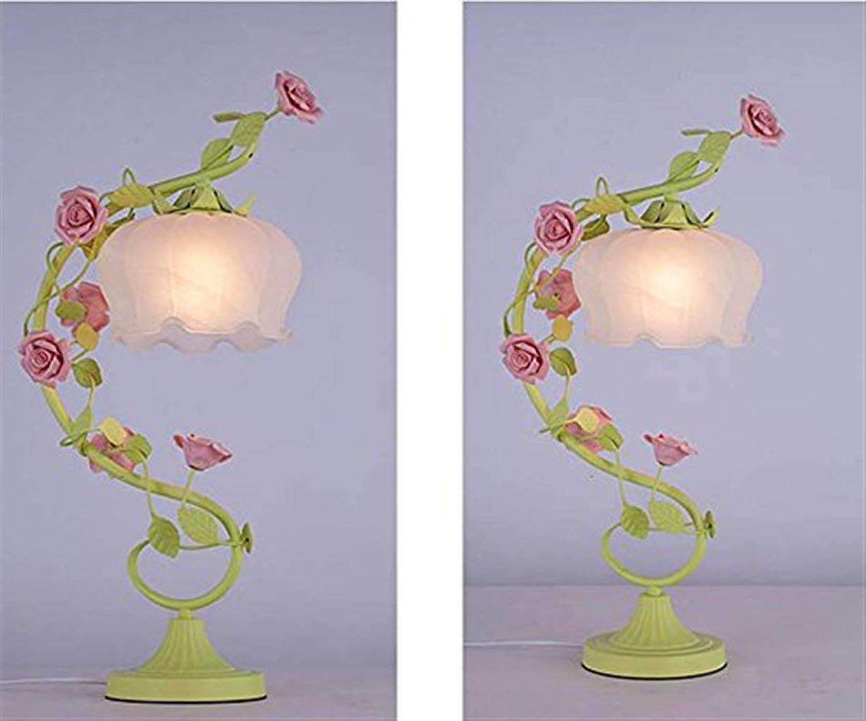 YHUJH YHUJH YHUJH Home Bekleidungsgeschäft Hochzeitsgeschäft Ligh Rosa Flower Tischlampe Retro Schlafzimmer Nachttischlampe B07NL5JKYZ   Primäre Qualität  2e7f52