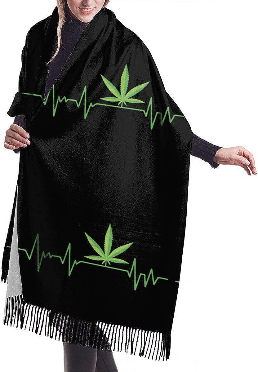 Marijuana Leaf Heartbeat Winter Scarf Cashmere Scarves Stylish Shawl Wraps Blanket