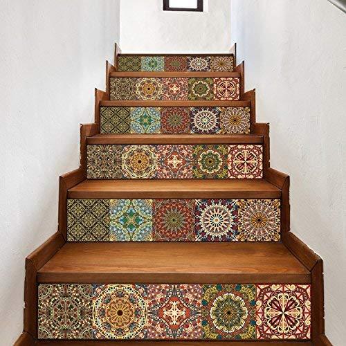 Walplus Arabisch Fliesen Treppen Aufkleber, Bunt, 100 X 18 X 0.02 CM