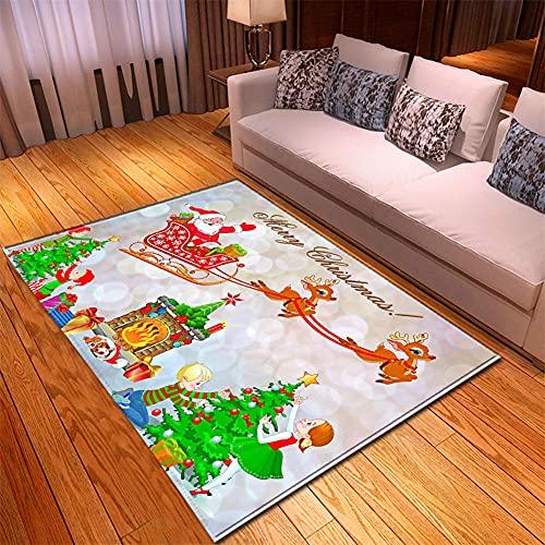 Tappeto Salotto Moderno 130X190cm Cervo Di Colore Bianco Tappeto 3D HD Tappeto Soffice per Camera da Letto Tappeto Bambini Motivo a Pelo Corto,Tappeto Cucina Antiscivolo Lavabile Tappeto Bagno Grand