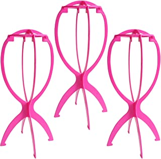 Dreamlover 3 Pack Short Wig Stands for Wigs, 14.2 Inches Portable Collapsible Wig Dryer, Durable Wig Holder, Travel Wig Stands, Hot Pink
