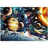 Queta Space Puzzle de 1000 Piezas Jigsaw Planetas del Sistema Solar en el Espacio Challenge Puzzle para Adultos y niños El Juego de Rompecabezas Regalo