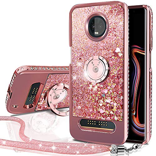 Moto Z3 Case,Moto Z3 Play Case, Silverback Moving Liquid Holographic Sparkle Glitter Case with Kickstand, Bling Diamond Rhinestone Bumper with Ring Stand Slim Protective Motorola Z Play (3D Gen) -RD