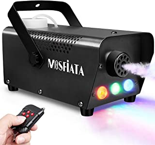Fog Machine with Controllable Lights, 500W Professional DJ LED Smoke Machine 3 Color Light (Red Blue Green) with Wireless Remote Control 2000 CFM Huge Fog for Halloween Holidays Parties Weddings Stage