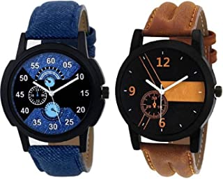 New Raiyaraj Embroidery Analogue Quartz Black Dial Leather Strap Men's Watch Combo - Pack of 2