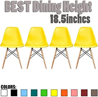 2xhome Set of 4 Yellow Mid Country Modern Molded Shell Designer Assemble Plastic Chair Side No Arms Wheels Armless Chairs Natural Wood Wooden Eiffel for Dining Room Bedroom Kitchen Accent DSW