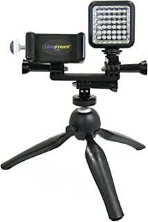 Livestream Gear - Smartphone & LED Light Tripod Live Stream, Facebook Live or YouTube, to Fit Regular Sized Devices. Also Works with Sport Cameras. (Md. Device & LED Tripod)