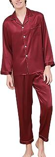 Pijamas para Hombre Satén Largo, Hombre Parejas Primavera Verano Camisones Pijamas de Parejas Ropa de Dormir, Collar con Bolsillo con Botones