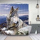 NYMB Wolf liegend auf dem Stein wasserdicht, 175,9 x 177,8 cm, schimmelresistent, Duschvorhang-Set, fantastische Dekorationen, Badevorhang
