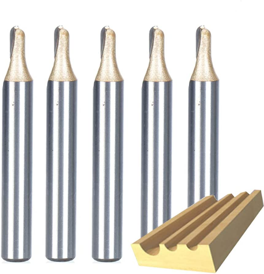 HUHAO 5PCS Router Bit 1//4 Shank Surface Tungsten Steel Tipped 1//2 Cutting Diameter Round Nose Tools For Woodworking