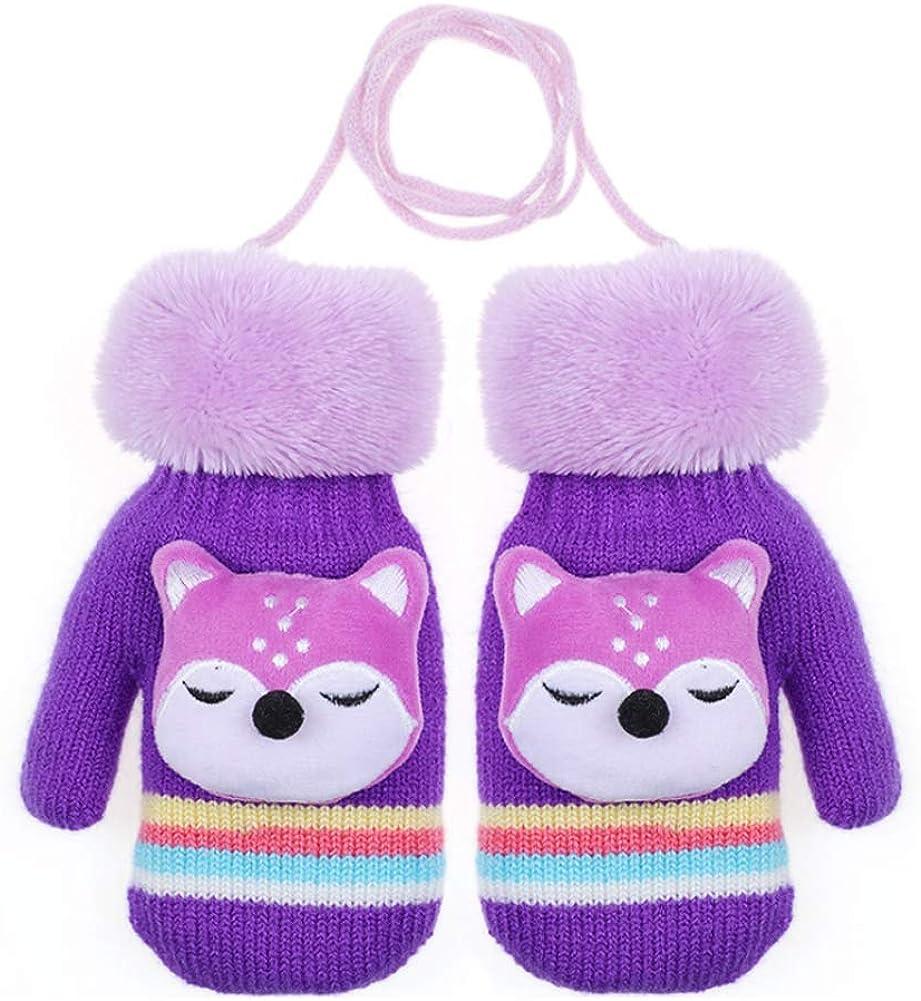 CHUANGLI Warm Winter Full Finger Gloves Thick Fleece Lined Ski Gloves for Kids Girls & Boy 3-6 Years