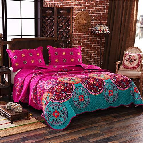 LAMEJOR Quilt Set Twin Size Tropical Bohemian Pattern 3-Piece Reversible Coverlet Set Comforter Set Bedspread Microfiber Fuchsia Pink/Turquoise Blue