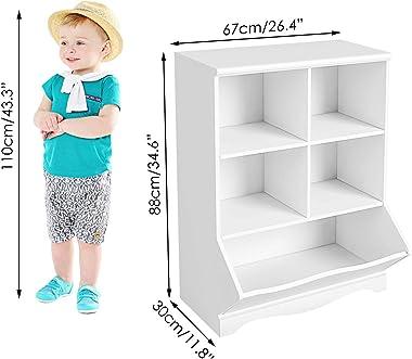 HOMECHO Kid's Bookcase, 5 Bins Toy Storage Cubby, Children's Storage Cabinet, Book Storage Shelves for Playroom, Bedr