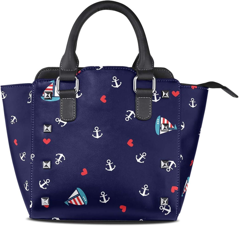 My Little Nest Women's Top Handle Satchel Handbag Cute Anchors Sailboat Ladies PU Leather Shoulder Bag Crossbody Bag