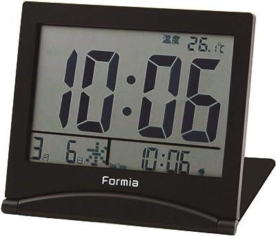 フォルミア(Formia) 目覚まし時計 デジタル トラベルクロック 折りたたみ ダブルアラーム ブラック