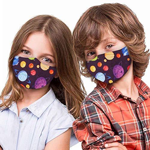 Alsino Mundschutz Stoffmaske Mund- und Nasenschutz für Kinder - waschbar und verstellbar - mit Motiv, perfekt für Schule und Freizeit (Weltall)