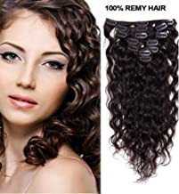 Romantic Angels Curly Clip in Hair Extensions Remy Human Hair 7pcs 80g Dark Brown #2 (18''(45cm))