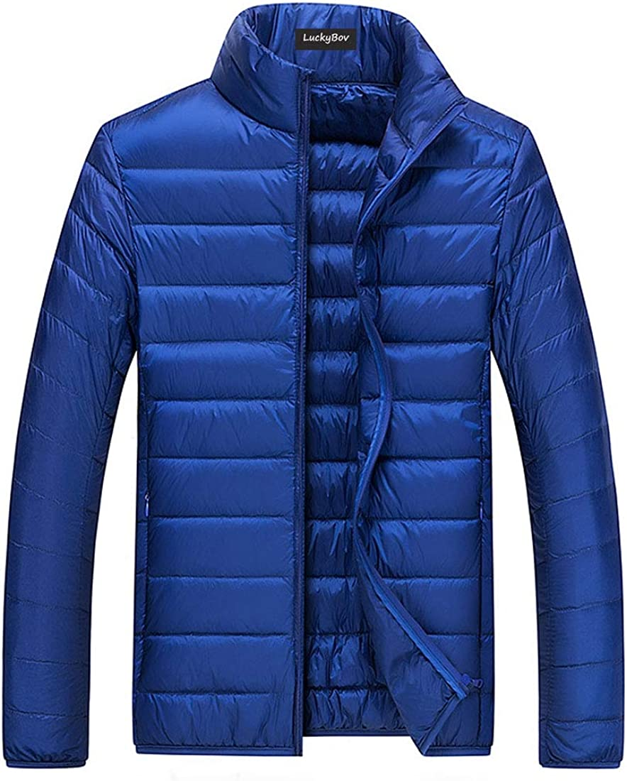 LuckyBov Men Packable Lightweight Down Jacket Classic Fit Zipper Puffer Coat
